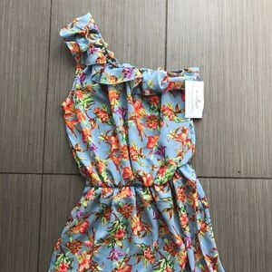 Shabby Apple Light Blue & Floral One Shoulder XS
